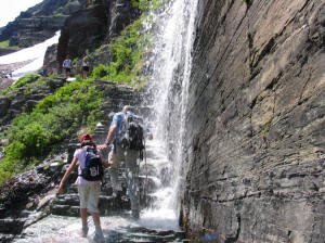 Waterfall on Grinnell Glacier Trial, Glacier National Park