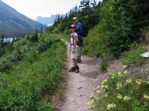 Dad and E, Grinnell Glacier Trail, Glacier National Park