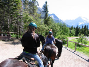 M & E at start of trail ride